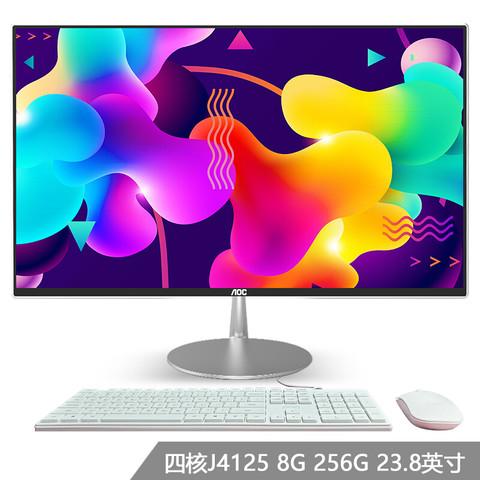 AOC 冠捷 AIO大师734 23.8英寸高清办公一体机台式电脑 ((Intel四核J4125 8G 256GSSD 双频WiFi 三年上门 键鼠)