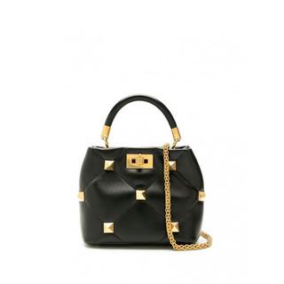 华伦天奴Valentino手提包女士奢侈品Roman 铆钉皮质小号手提包 黑色 通用尺码
