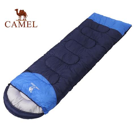 CAMEL 骆驼睡袋成人 户外旅行便携秋冬季加厚露营防寒单人大人隔脏睡袋 A8W03009 深宝蓝/彩蓝右边 2.15KG