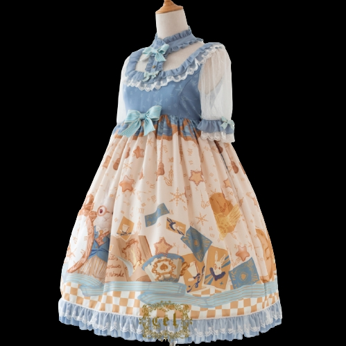 CEL洋装设计 Lolita洛丽塔 爱丽丝兔 女士小高腰OP短袖连衣裙 浅蓝/米黄 L