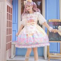 吸吸猫 Lolita洛丽塔 彩虹娃娃屋 女士JSK无袖连衣裙 淡奶黄 小码