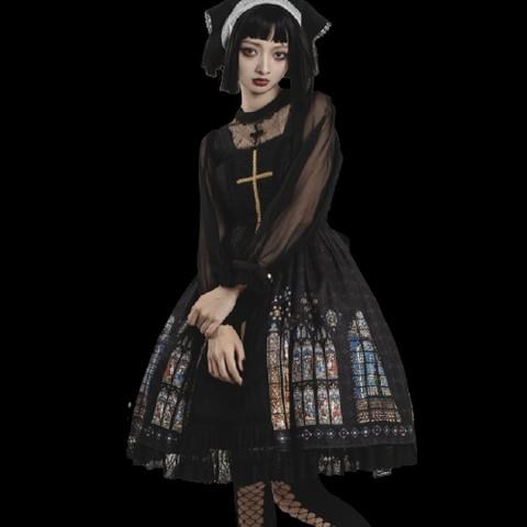 CEL洋装设计 Lolita洛丽塔 古典 彩窗 女士正开襟JSK无袖连衣裙 黑色 L
