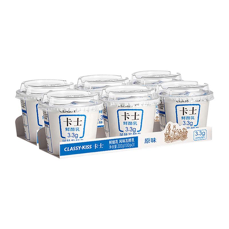 卡士 CLASSY.KISS 原味鲜酪乳3.3低温酸奶,100g*6杯风味发酵乳