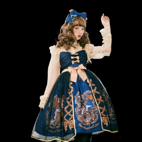 CEL洋装设计 Lolita洛丽塔 古典 天鹅梦 女士JSK无袖连衣裙 II型黑纱款 深蓝色 M