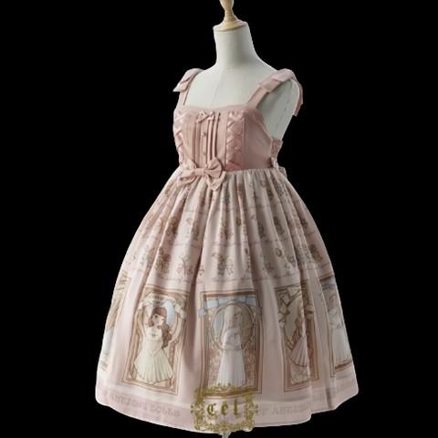 CEL洋装设计 Lolita洛丽塔 古董娃娃相册 女士JSK无袖连衣裙 粉红色 M