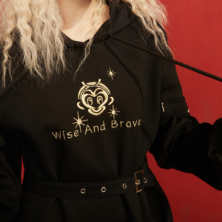 elf sack 妖精的口袋 大闹天宫联名系列 女士连帽卫衣连衣裙 1110_AL0004