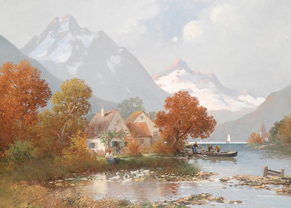 橙舍 阿道夫·考夫曼《夏天的湖》 80*120cm 装饰画 油画布