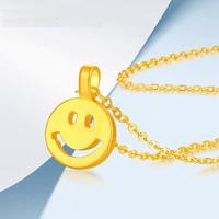 黄金吊坠999足金笑脸吊坠赠镀金银链一条40-45cm