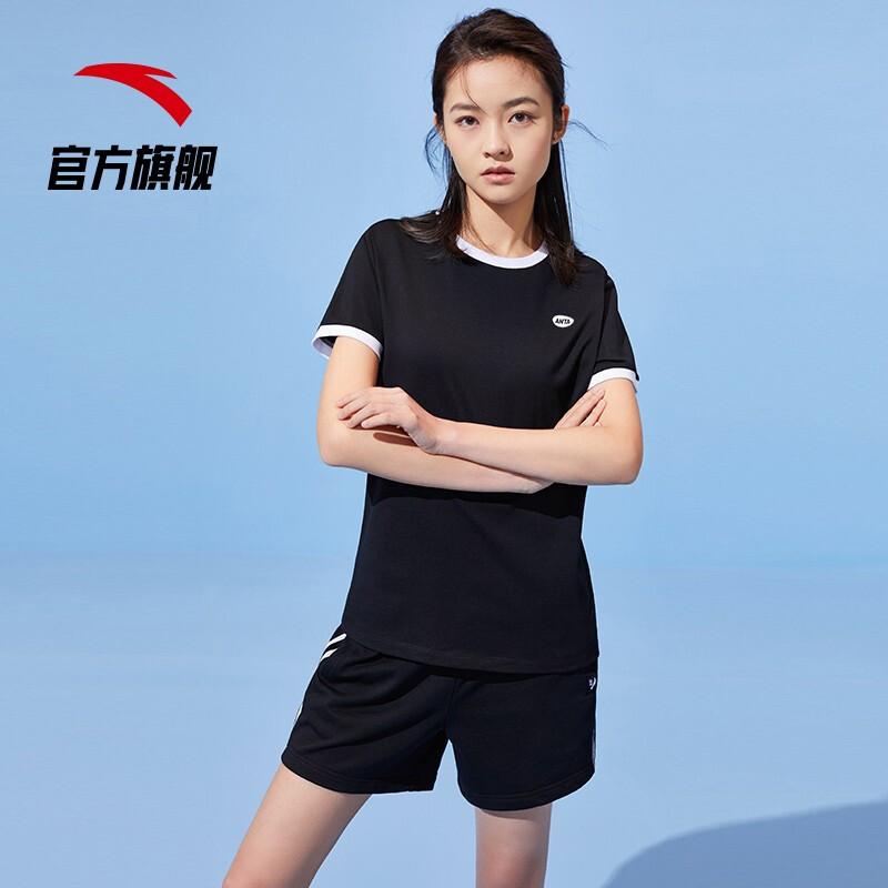 ANTA 安踏 962128119-5 女士运动T恤短裤两件套