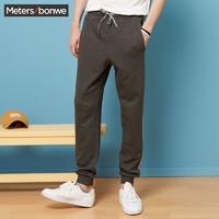 Meters bonwe 美特斯·邦威条纹休闲长裤男士春季潮流印花运动裤商场款