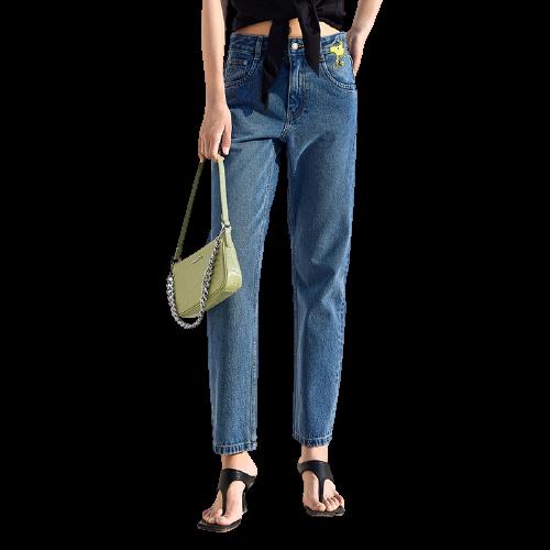 MO&Co. 摩安珂 史努比联名系列 女士高腰直筒牛仔裤 MBA2JENT09
