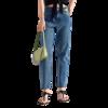 MO&Co. 摩安珂 史努比联名系列 女士高腰直筒牛仔裤 MBA2JENT09 牛仔蓝色 M