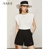 Amii 极简复古垫肩冰瓷棉无袖T恤女 宽松白色背心上衣  160/84A/M 米白