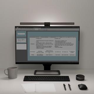 明基 ScreenBar Halo工作学习宿舍书桌电脑显示器护眼台灯屏幕挂灯 碳咖色 触摸开关