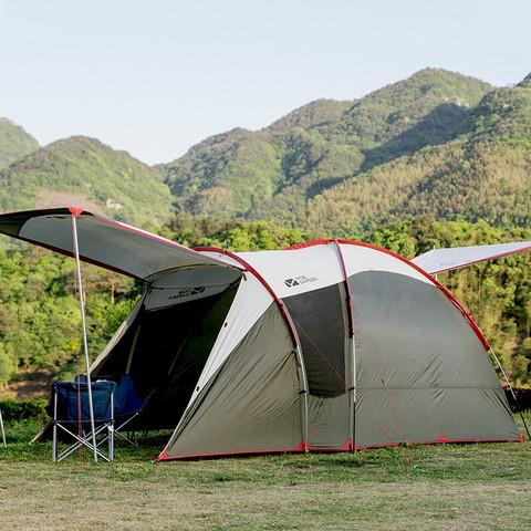 MOBI GARDEN 牧高笛 牧高笛(MOBIGARDEN) 野营防风双层3-4人大空间公园露营后室户外帐篷 橄榄绿 NXZQU61003