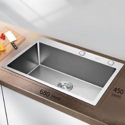 VATTI 华帝 092106L 不锈钢手工加厚水槽 68*45cm