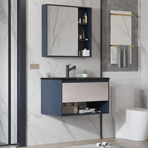 PLUS会员:VAMA VAMA 岩板浴室柜 80cm-黑金岩板(普通镜柜)含龙头配件
