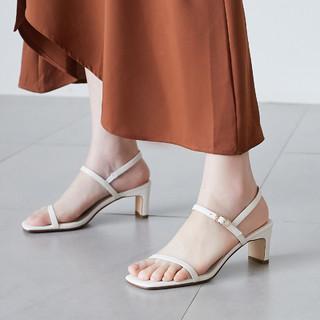 CAMEKSI  CM068WT 女士一字带粗跟凉鞋