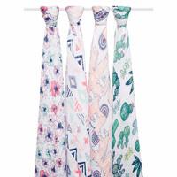 aden+anais 纯棉纱布巾盖毯抱被  4只装