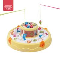 beiens 儿童玩具 磁性钓鱼 宝宝早教益智玩具 电动音乐旋转双层钓鱼玩具B503黄色