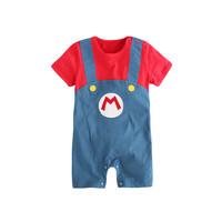 Augelute 夏季款男女宝宝婴儿小童短袖连体衣哈裙哈衣爬服衣服0-3岁