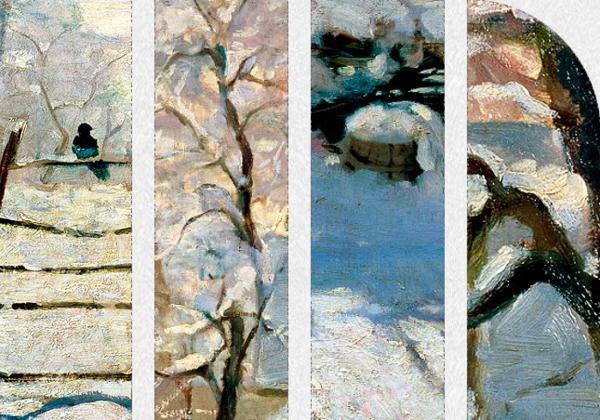 雅昌 莫奈《喜鹊》70×50cm 装饰画 油画布