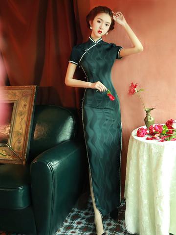 传统老上海旗袍裙长款蚀骨优雅年轻款少女复古民国风日常生活装夏