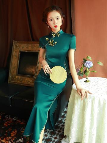 绿色旗袍2020年轻款少女复古老上海中国风长款日常生活装连衣裙夏
