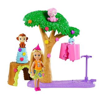 Barbie 芭比 女孩洋娃娃过家家玩具套装社交互动儿童玩具小公主生日礼物-小凯莉森林派对套装GTM84
