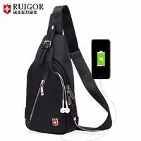 瑞戈  瑞士斜挎胸包 黑色USB充电设计