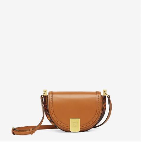 Moonlight棕色皮革手袋-女士手袋-FENDI芬迪中国官网