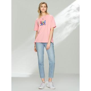 LeeXLINE 21春夏新品修身雪花洗浅蓝色女七分牛仔裤L397875PCCBW