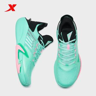 特步(XTEP)特步轻羽2代2021春夏新透气运动鞋时尚百搭款运动鞋6 黑绿 42运动码