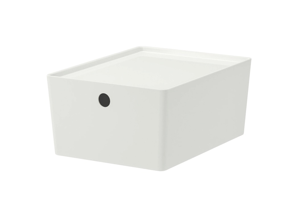 KUGGIS 库吉斯 附盖储物盒 白色 26x35x15 厘米