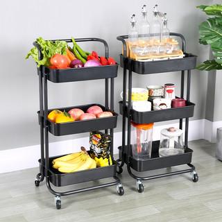厨房置物架篮落地移动带轮多层零食小手推车蔬菜储物浴室收纳架子