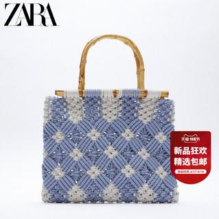 ZARA 新款 女包 竹子蓝色草编花边手提休闲购物包 16455710009
