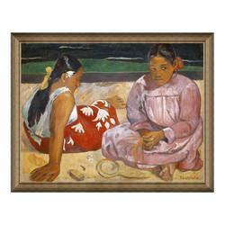 雅昌  高更《海滩上》77×98cm 装饰画 油画布
