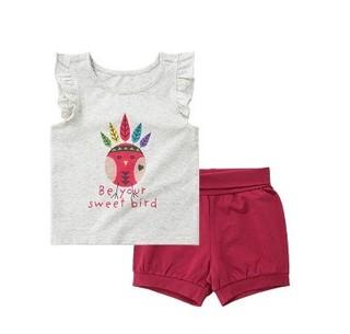 女童无袖背心款T恤短裤套装