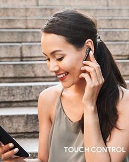 AUKEY True 无线耳机,蓝牙 5 耳机带降噪麦克风,25 小时播放时间,防水 HiFi 立体声无线耳机,适用于 iPhone 和 Android