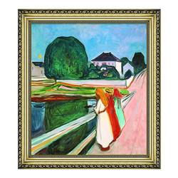雅昌 爱徳华·蒙克《桥上的小女孩》54×61cm 装饰画 油画布