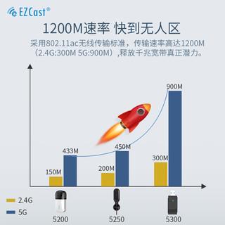 EZCast 电脑蓝牙适配器5.0免驱动千兆迷你无线网卡5G 5200:蓝牙4.2+600M双频(2.4G/5G)