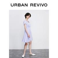 URBAN REVIVO UR春夏新品青春女装气质方领X型连衣裙YU19R7EN2003