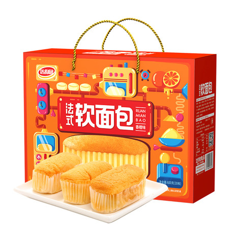 达利园 软面包香橙味600g早餐饼干面包食品网红零食营养糕点心