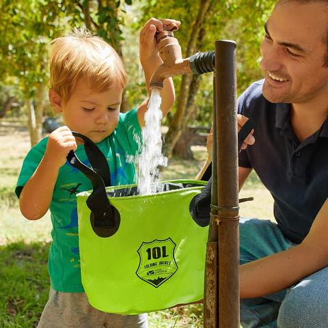 MOBI GARDEN 牧高笛 牧高笛(MOBIGARDEN) 户外露营PVC防水便携易收纳洗脚洗脸多用途水盆水桶 10L