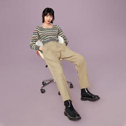 PEACEBIRD 太平鸟  A8GBA440176 女士高腰休闲锥形裤