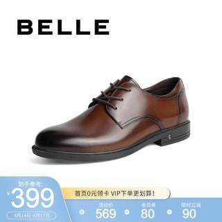BeLLE 百丽 BELLE/百丽春新牛皮革男通勤商务正装皮鞋B3GA9AM0 棕色 38