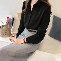 欧偲麦  春夏新款衬衫女士设计感上衣2021年新款感长袖衬衣女 8117 黑色 XXL