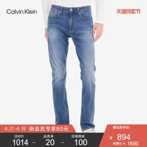 Calvin Klein 卡尔文·克莱 CK Jeans2020秋冬新款男装修身直筒版中蓝水洗休闲牛仔裤J316722