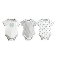 Augelute 3件装|夏季婴幼儿宝宝短袖三角哈衣包屁衣爬服0-3岁