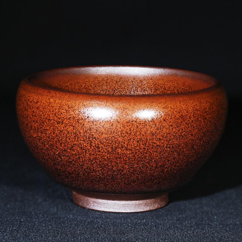 武夷建盏  龙窑柴烧柿红釉茶盏 品茗单杯